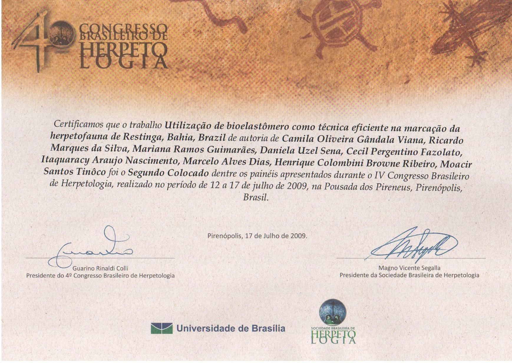 Prêmio Sociedade Brasileira de Herpetologia - 2009